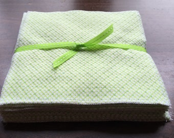 SALE ** Cloth baby wipes set of 12 made with 2 layers of 100% cotton flannel beautiful green polka dot and checks pattern