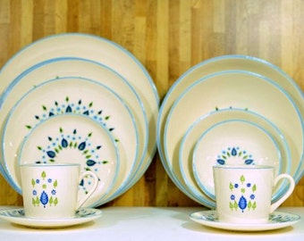 Mid Century Marcrest Dishes Swiss Alpine: Plates, Mugs and Bowls 14 Pieces Total Green Trees Blue Leaves Turquoise Flowers