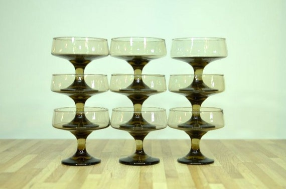 Vintage Midcentury Glass Dessert Cups Pedestal Stem Brown