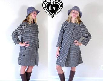 vtg 60s Black+White PLAID mod SWING COAT os buttons retro wool checkered jacket outerwear