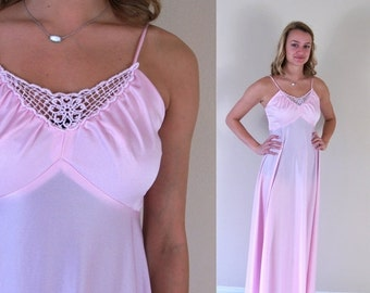 vtg 70s pastel pink CROCHET LACE Maxi DRESS xs/s Grecian goddess draped empire boho hippie gown rose quartz