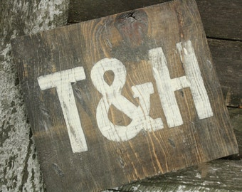 Wedding Initials Ampersand Set Distressed Faux Barnwood Rustic White letter