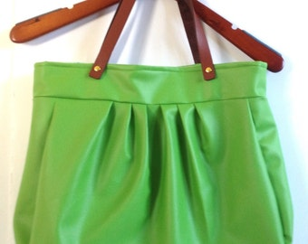 Green Apple Faux Leather Tote