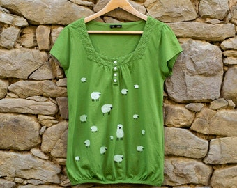 Sheep T-Shirt, Hand Painted Green Tee, Size M, Cottage Apparel