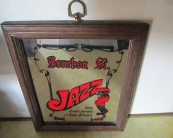 Mirror Bourbon Street Jazz Framed Wall Art Red and Black Print New Orleans Souvenir Decor