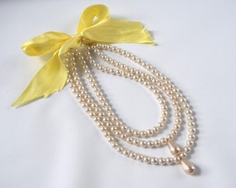 Triple Strand 18th Century Pearl Necklace, Georgian Pearls, Reproduction Jewelry, 18th Century Jewelry, Rococo Necklace, Marie Antoinette