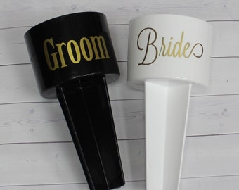 Bride and Groom Beach Spikers - Wedding Beach Holders - Destination Wedding Gift - HIs and Hers Wedding Gift