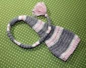Newborn Stocking Hat Photo Prop Pink and Gray in Soft Alpaca