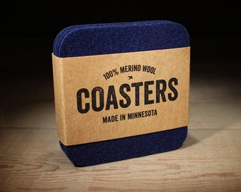 Navy Coasters - Housewarming Gift - 100% Merino Wool - Square - Thick German-milled Felt - Rich, Lightfast Colors - Natural & Renewable