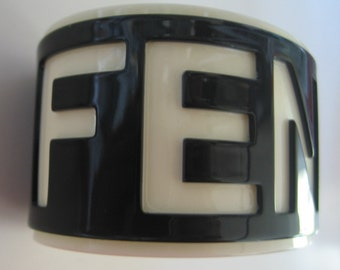 Vintage FENDI layered resin logo signed cuff bracelet in black & white
