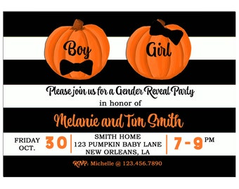 Pumpkin Gender Reveal Invitation Printable or Printed With FREE SHIPPING - Gender Reveal - Black Stripe Lil' Pumpkin Collection