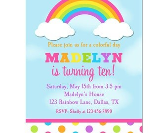 Rainbow Invitation Printable or Printed with FREE SHIPPING- Rainbow Birthday or Baby Shower Invite -Rainbow Dot Collection