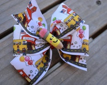 BACK TO SCHOOL Hair bow with handmade pencil smiley face center  and school house ribbon. Great for everyday wear and First day of school
