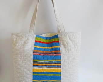 Weekend Tote Bag, Carryall Tote, Large Summer Tote, Ivory and Blue striped Shoulder Bag, Shopping Bag