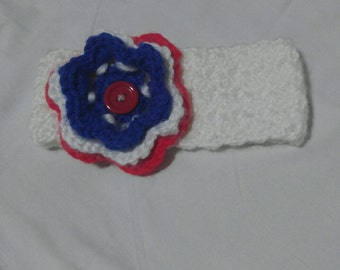 4th of july, red white and blue flower, baby headband