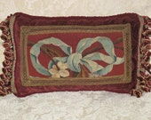 Antique Aubusson Tapestry Kidney Pillow Authentic 19th C French Aubusson