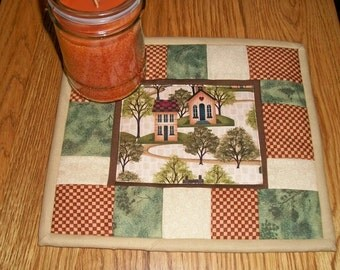 Quilted Candle Mat Mug Rug Coaster Folk Art Primitive Decor Salt Box House