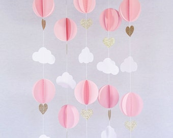 Hot Air Balloon 3D Paper Garland Room Nursery Decor (5 Individual Strands, 3 Ft Long Per Strand) - Pink, White & Gold Glitter