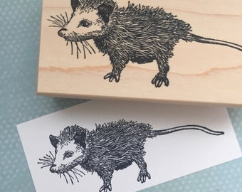 Cute Opossum Rubber Stamp