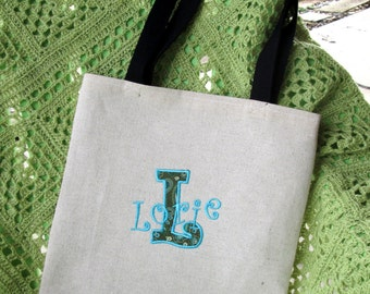 Applique Name Tote Bag, Bridesmaid Gift, Custom Embroidered Shopping Bag, Knitting Bag, Crochet Bag, Project Bag, Embroidery Bag, Book Bag