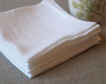 "SALE. Linen napkin - 13""x13"" (33x33cm). Set of 10. Natural, softened linen. White."