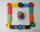 Robot Ornament - Cap'n Monkey Bot - Upcycled Ornament - Hanging Decor by Jen Hardwick