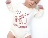 12-18 months Long Sleeve Black Happy Camper Bodysuit