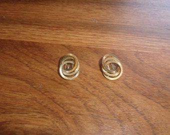 vintage clip on earrings goldtone double circles