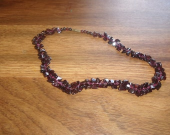 vintage necklace purple glass beads choker
