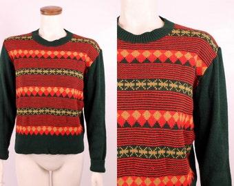 Vintage 60s 70s - Orange Red & Dark Green Argyle Striped Knit Sweater - Hippie Disco Glam