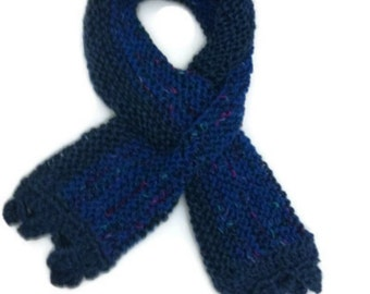 Double Slot Neck Scarf Hand Knit Blue Garter Stitch Neck Warmer Gift for Mom Gift for Her