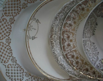 Mismatched China Dessert Plates, China Transferware Plates and Saucers Instant Collection, Gold Edged Wedding Shower China 5 piece set, #02