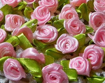 Pink Satin Ribbon roses w/leaves-12mm-25 ea.-RR003