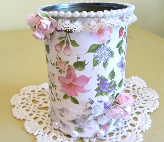 Shabby chic decorated tin can - Telas shabby chic ...