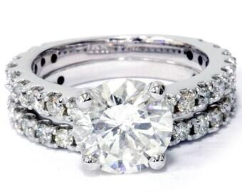 Diamond Engagement Ring, Diamond Engagement Ring Set Matching Wedding Ring 3 1/5ct Diamond Engagement Wedding Ring Set 14K White Gold