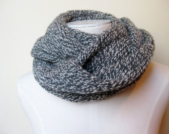 Wool tweed infinity scarf grey hand knitted