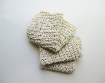 Cotton spa washcloth hand knitted neutral