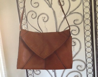 Brown, leather, envelope bag.