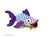 Rainbow Fish Purse - Cute Gift for Kids - Coin Purse - Purple Wristlet - Girls Zipper Pouch - Organizer - Desk Accessory - Ready to Ship