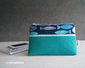MinnePouch by MinneBites / Small Handmade Purse - Green Fish Wristlet Wallet - Blue iPhone Wrist Strap Purse - Cosmetic Case - Ready to Ship