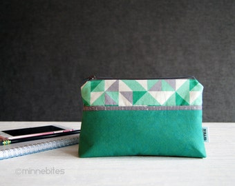 Phone Pouch - Birthday Gift for Teen Girl - Emerald Green Purse - Geometric Print Wristlet - Fabric Purse - Cosmetic Case - Ready to Ship