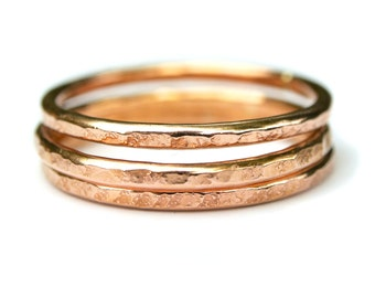 Stacking rings 2mm silver, oxidized, gold, rose gold, 14K, gold filled