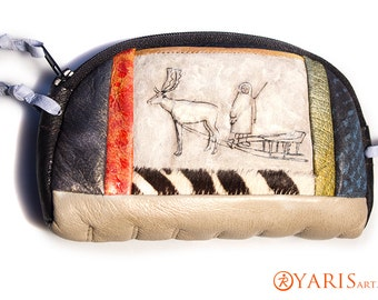 Womens wallet - leather soft pouch - Hand painted change purse with pole eskimo deer theme - Gift for Her