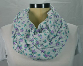 Cotton Infinity Scarf Loop Scarf Lightweight Scarf Cotton Scarf Floral Scarf