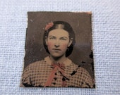 antique miniature gem tintype photo - 1800s, woman with rosy cheeks and pink bow, pink flower