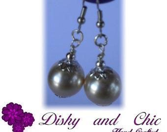 Large Cream Pearl,  Drop Earrings