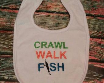 Crawl Walk Fish bib, fishing bib, baby bib