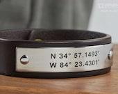 Coordinate Bracelet - Latitude Longitude Bracelet  - Personalized Leather Bracelet Custom GPS Bracelet