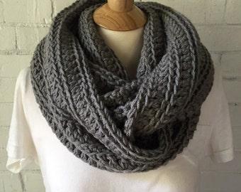 ROWAN chunky crochet infinity scarf - gray - ready to ship