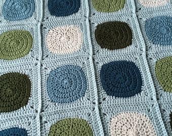 Crochet baby afghan - ivory, dark teal, ivory, dark olive, light aqua, sea blue, and sage green - crib stroller travel blanket - ready to sh